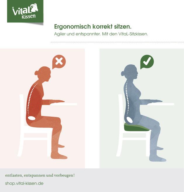 Mit dem VitaL Hüftkissen ergonomisch korrekt sitzen am Arbeitsplatz. Im Gegensatz zur normalen Sitzhaltung ist das Becken aufgerichtet, als ob man stehen würde. Vom Becken aufwärts kommt die Wirbelsäule in eine natürliche S-Form.